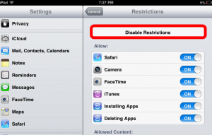screenshot disable restrictions